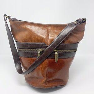 Tignanello Brown Cognac Leather Shoulder Bag